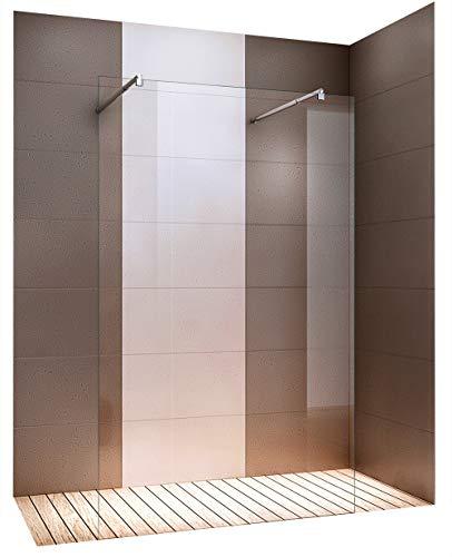 Duschabtrennung Walk-In Nano Echtglas EX105 - Klarglas - Freistehend - Breite wählbar, Breite:1200mm