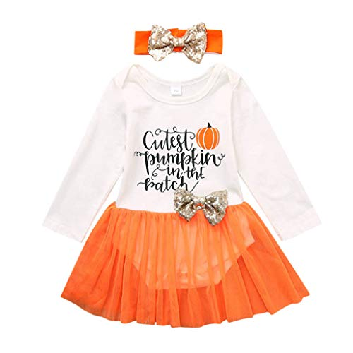 Baby Kleid Kleidung Outfits Set,TTLOVE Säuglingsbaby Mädchen Halloween Karikatur Kürbis Druck Spielanzug Strampler Bodysuit + Stirnband + Tüll Kleid(Weiß,100)