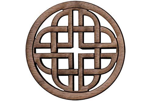 Folkcraft Rosette, Modern Celtic Shield, Walnut, 2 3/16' Diameter