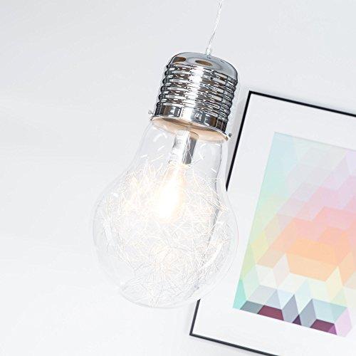 Lampadina di design per lampada a sospensione con diametro di 27 cm, in vetro trasparente con finitura cromata