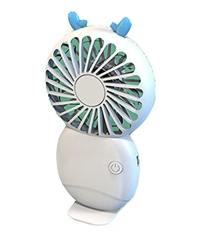 Mini Ventilador de Mano USB Recargable Portátil Ajustable 3 Velocidad para el Oficina Hogar Acampada Viajes Exterior,White