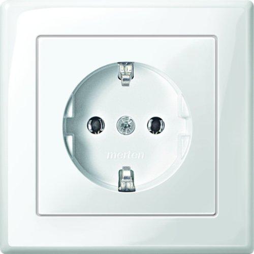 Merten MEG2301-1419 SCHUKO-Steckdose mit voller Abdeckplatte, Steckkl, polarweiß glänzend, M-SMART, Weiß