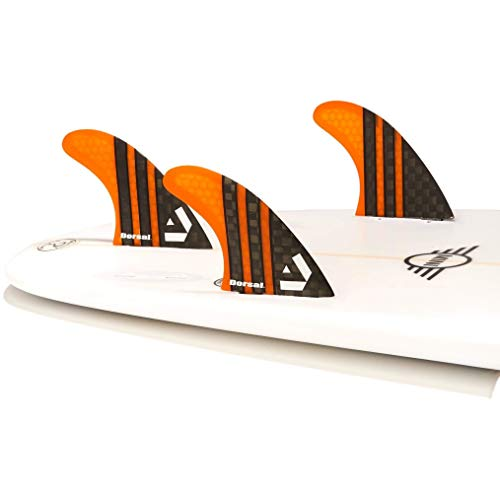 DORSAL® Carbon Hexcore Thruster Surfboard Fins (3) Honeycomb FCS Base Orange