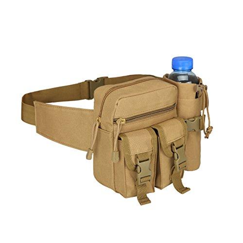 HoYiXi Tragbar Taktisch Hüfttasche mit Trinkflasche Behälter Gürteltasche zum Wandern Radfahren Klettern Angeln Wasserdicht militärisch Taille Gürtel Multifunctional Bauchtasche -Erdfarben