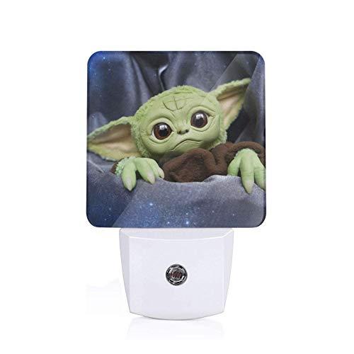 Dansony Baby Yo_Da Plug-in Led Night Light Automatic Dimmable Dusk-to-Dawn Square Shaped Smart Night Lights for Nursery Bathroom Bedroom