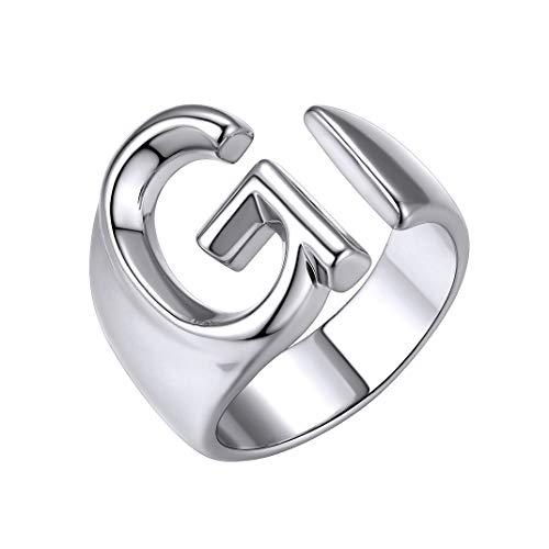 GoldChic Jewelry g Anello Aperto Iniziale, Anello Trumb Regolabile in Oro Bianco con Lettera Maiuscola per Donna