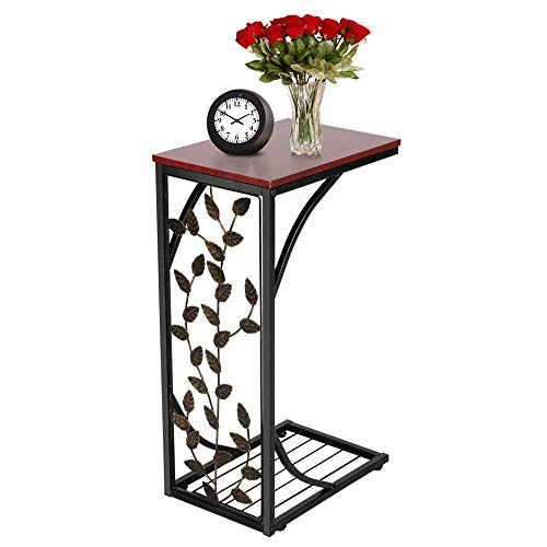 Yomiro Mesa auxiliar para salón, pequeña mesa de metal, mesa de café, color negro, mesa pequeña para el teléfono, mesita de noche, mesa lateral, mesa para ordenador portátil (hojas, mesa auxiliar)