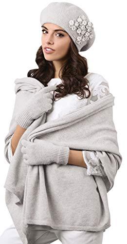 Kamea - Winterset für Damen Gorycja - Baskenmütze mit passendem Schal - verschiedene Farbauswahl, Winter Set:Hellgrau