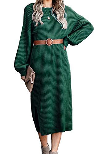 ANCAPELION Damen Backless Jumper Kleid Langarm Gestrickt Kleider Midi Lange Stricken Kleid für Herbst Winter (Grün, M)