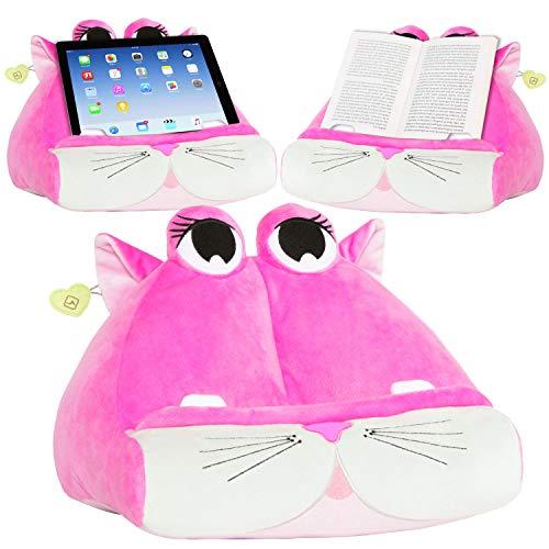 CuddlyReaders, atril, cojín de lectura para libros, iPad, tablet, eReader, soporte sofá de descanso, idea de regalo para niños - Kiki Kitty