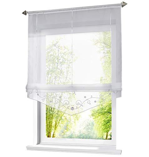 Store Romain Transparent LxH 60x140cm Bas en Forme Triangulaire avec Broderie Florale Blanc Hauteur Ajustable Décoration Salon Chambre Balcon Cuisine