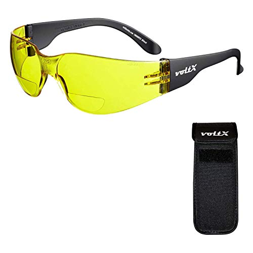 voltX 'GRAFTER' Bifocale Lichtgewicht Leesbril (GEEL +1.0 Dioptrie Lens) Fietsbril CE EN166f Gecertificeerd + UV400 Lens met Anti-Condens Coating + Halfharde Uittrekbare Veiligheidshoes