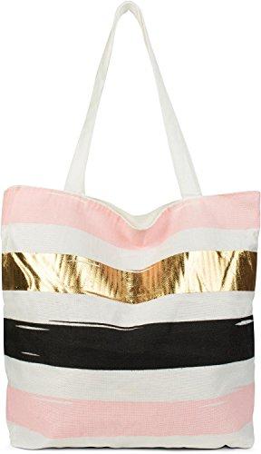 styleBREAKER kleine Strandtasche mit Streifen Print, Reißverschluss, Shopper, Einkaufstasche, Stofftasche, Tasche, Damen 02012221, Farbe:Weiß-Rose-Gold-Schwarz