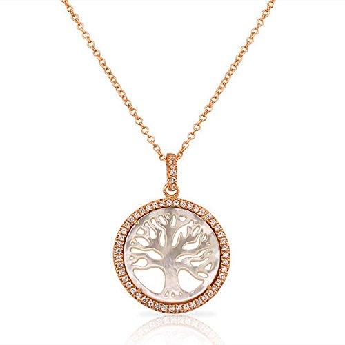 925sterling Silver rose gold-tone Simulata madreperla CZ albero della vita classico ciondolo collana