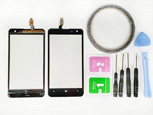 JRLinco per Nokia Lumia 625 N625schermo di vetro, parte di ricambio display touchscreen(Nessun LCD) per Nokia N625 nero+Attrezzi & Bi-Adesivo + pacchetto pulizia con alcool e asciugatura