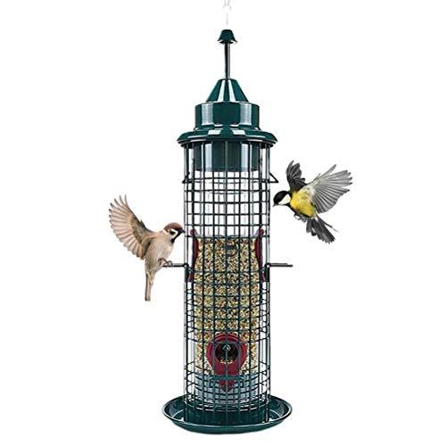 Susian Vogelfutterhäuschen, Außenkäfigrohr Vogelhäuschen Eichhörnchenfester Wildvogelhäuschen mit 4 Fütterungsöffnungen Hängende Fütterung für Wildvogelhäuschen im Freien, 5,25 * 5,25 * 15,25 Zoll