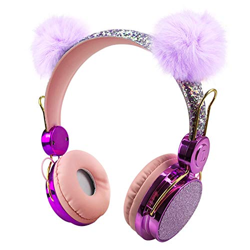 Kids Bluetooth 5.0 Headphones with Fluffy Bear Ears On-Ear Stereo Wireless Headset with Mic Kids Headband Earphone for Girl Boy Support Aux in Compatible with Smartphones PC Tablet (Purple)