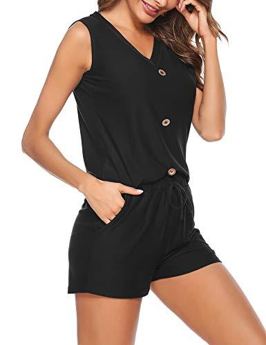 Irevial Tuta Donna Sportiva Estiva Corta Completa Pantaloni Tuta da Ginnastica Donna Corti Elegante Due Pezzi Completo Estivo Donna Senza Manica con Bottoni Moda