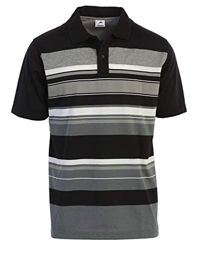 Gioberti Mens Slim Fit Striped Short Sleeve Polo Shirt, Black, 2X-Large