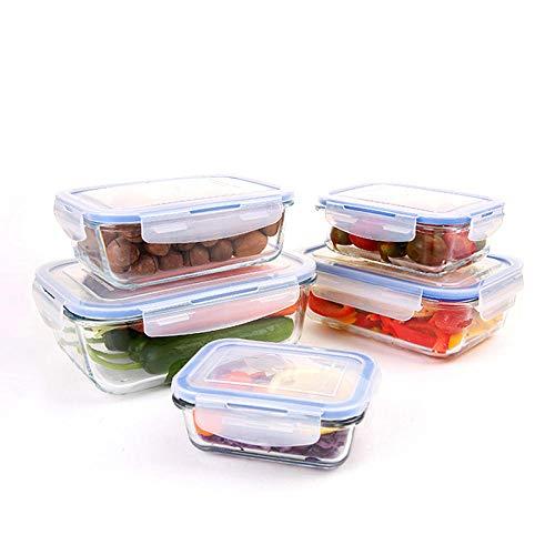 Recipiente vidrio,Fiambrera de cristal caja para frutas y verduras transparente recipiente de almacenamiento sellado para el hogar con fiambrera-D,Hermético de Rectangular
