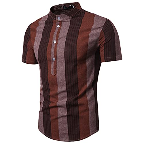 SSBZYES Camisa para Hombre Camisa a Rayas De Verano De Manga Corta Jersey Informal Camiseta De Manga Corta Camiseta De Playa Camisa Informal Suelta con Cuello Alto