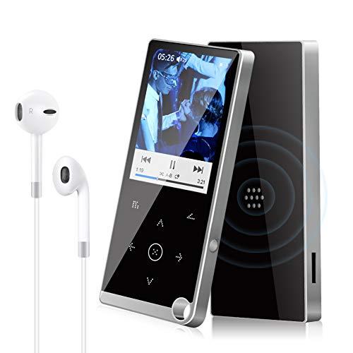 Lecteur MP3, 16Go Lecteur MP3 Bluetooth 4.2 Portables HiFi sans Perte Lecteurs de Musique MP4 avec Enregistreur Vocal et Haut-Parleur Radio FM, Extensible Jusqu'à 128 Go