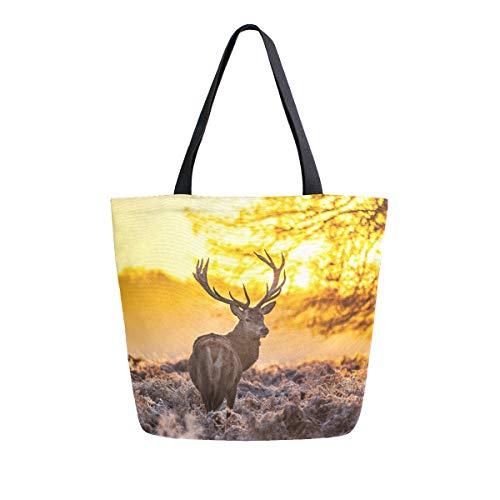 Naanle Animal Reer Canvas Tote Bag Large Women Casual Schultertasche Handtasche Reh Wiederverwendbar Mehrzweck Heavy Duty Shopping Lebensmittel Baumwolle Tasche für Outdoor