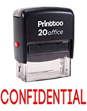 Printtoo Rubber Stamp Office Stationary CONFIDENTIAL Self Inking Custom Stamp-Red