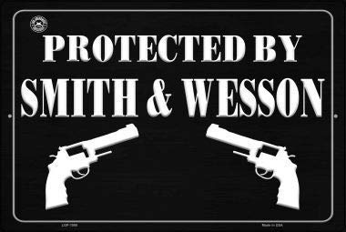 Anjoes Protected by Smith and Wesson Retro Vintage Metal Tin Signs Rustic Wall Art Sign,12x8 Inches