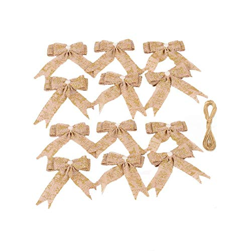 JUNICON 12Pcs Burlap Christmas Tree Bow with Glitter Reindeer Snowflake Pearls 9 * 12cm Bowknot Bow Tie Set Ornaments for Christmas Tree Topper Rustic Wedding Decoration Bows (Gold)