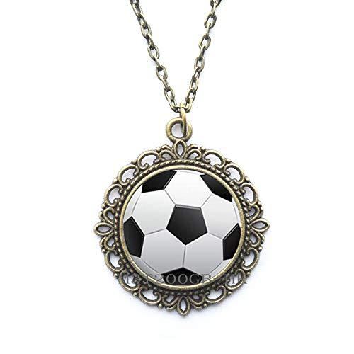 Collar de fútbol, collar deportivo, regalo de equipo, regalo de jugador, regalo de amigo, collar de plata de fútbol, regalo de dama de honor, regalo de cumpleaños-MT003