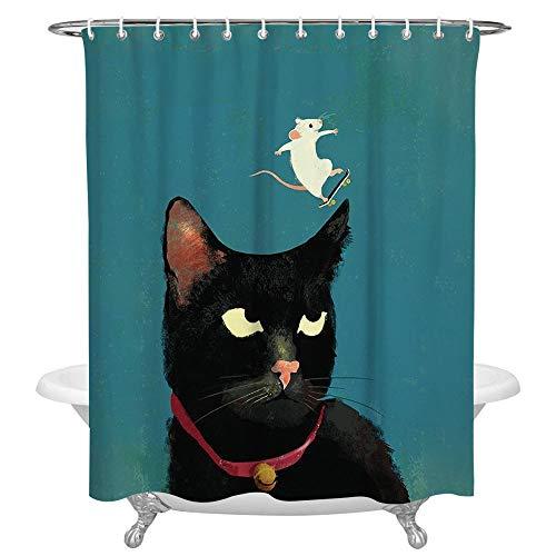 N / A Cartoon Cat Mouse Tende da Bagno Tenda da Doccia Impermeabile in Tessuto Poliestere Lavabile con Ganci Accessori-L180xH200cm