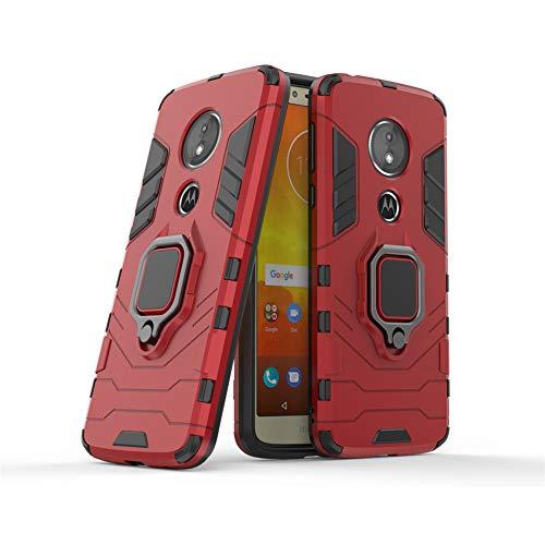 LuluMain Compatible con Moto E5 Funda, Anillo Metálico Sujeción Soporte Antichoque Caja (Funciona con el Montaje de Coche Magnético) Doble Capa Case Carcasa para Motorola Moto E5 (Rojo)