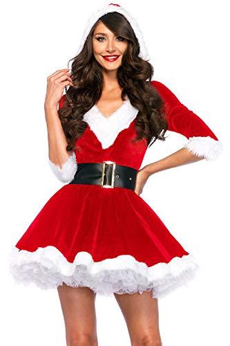 YACUN Le Donne di Natale Babbo Natale Cosplay Mini Abito da Festa in Costume Red L