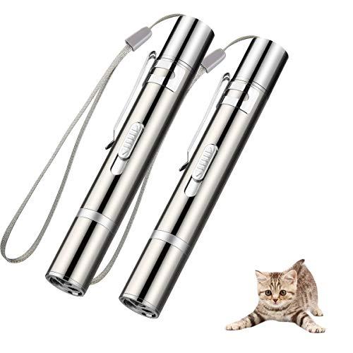 LED Pointer, EWIGE Spielzeug für Katzen Hund Haustier mit USB Wiederaufladbar interaktives Fangspiel (2-Stück)