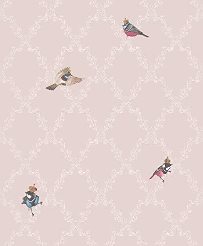 Vliestapete Modern für Kinderzimmer - Rosa-Weiß - Harald Glööckler - Modern mit Vögeln - 10,05mx0,53