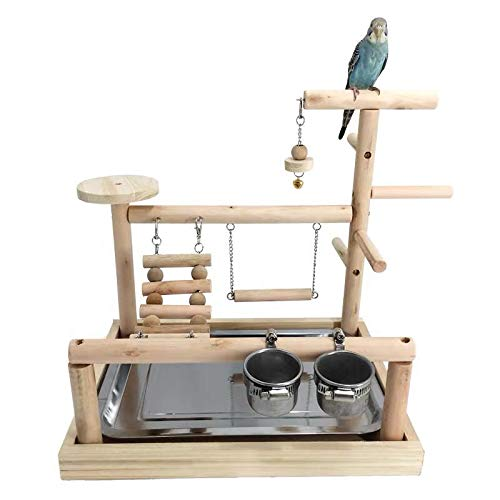 WYunPets Parrots Playstand Bird Playground Wood Perch Gym Stand Playpen Ladder with Toys Exercise Playgym with Feeder Cups Toys Exercise Play