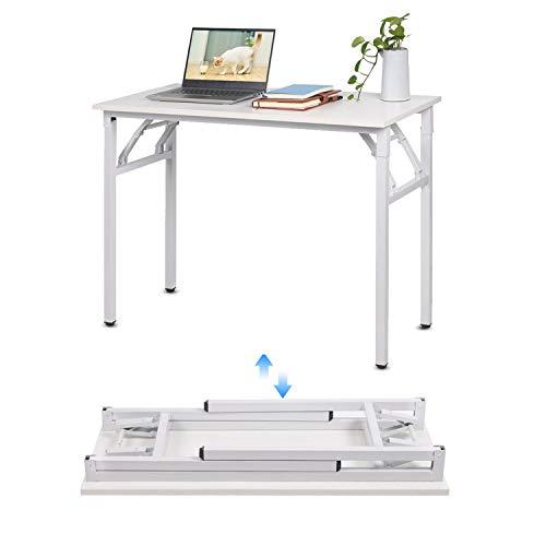 jeffordoutlet Escritorio para ordenador de 100 x 50 cm, portátil de trabajo, mesa de estudio para espacios pequeños, sala de estar, dormitorio, muebles de camping
