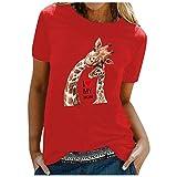 Camiseta para mujer con diseño de jirafa madre y niño, camiseta de verano, camiseta de manga corta, informal, cuello redondo rojo M