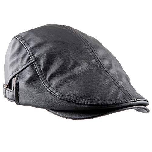KYEYGWO Flat Caps for Men, PU Leather Newsboy Peaked Cabbie Ivy Gatsby...