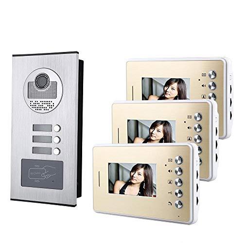 XINTONGSPP Timbre, 4.3Inch 3 Apartamento/Familia Video Teléfono Intercomunicador Sistema de intercomunicación HD 1000tvl Cámara de Timbre de la cámara con 3 Botones 3 Monitor