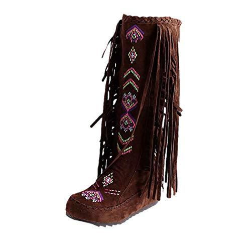 BHYDRY Schuhe Mode Flache Schuhe Stickerei Damen Warm Bequem Quaste Stiefel Flache Schuhe Lange Stiefel Winter Kniehohe Stiefel