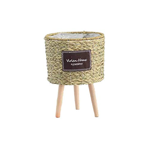 Cesta de paja, cesta de almacenamiento de picnic de lavandería de paja nórdica con soporte Planta de maceta hecha a mano Color natural