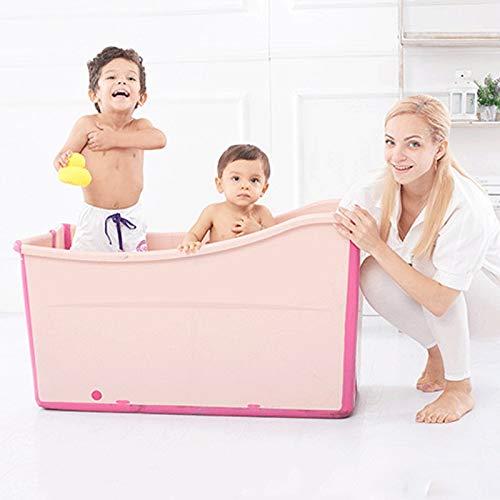 Bañeras Bañeras grandes y plegables Bañera for niños adultos Bebé de plástico Bañera portátil for agua caliente con hielo Interior al aire libre Hogar SPA Remojo (Color : Pink)