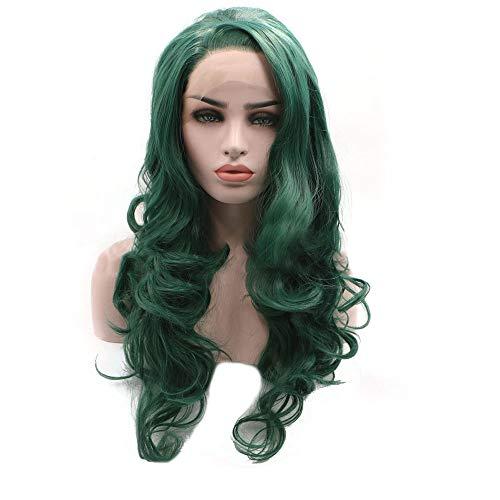 Souple Perruque en soie Fashian Lace Front Big Wavy cheveux bouclés haute température fashion (Couleur : Vert)