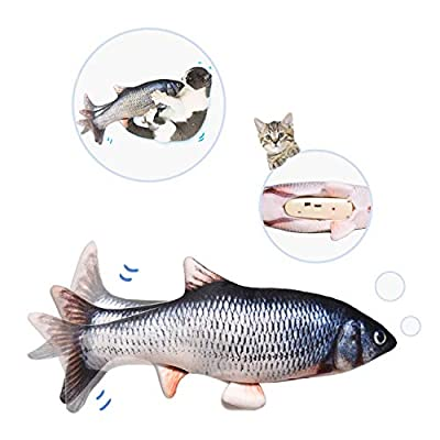 "Potaroma 10"" Electric Moving Cat Kicker Fish Toy, Realistic Flopping Fish, Wiggle Fish Catnip Toys, Motion Kitten Toy, Plush Interactive Cat Toys, Fun Toy for Cat Exercise …"