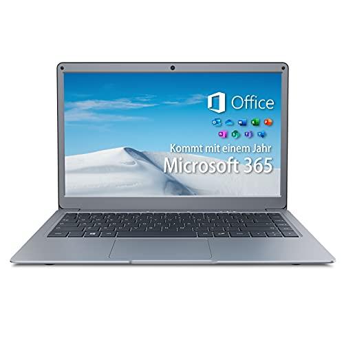 Jumper Ordenador portátil Microsoft Office 365 (4 GB DDR3 128 GB eMMC Windows 10 Laptop 13,3 Pulgadas FHD, Intel CPU, Dual Band WLAN, Bluetooth 4.2, Notebook 1 TB SSD y 256 GB TF para ampliación)