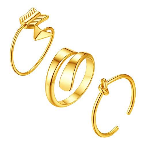 FindChic 3 Paar goldener Offener Fingerring Knot Ring Pfeil und Bogen Ring Doppelt Poliert Ring 3 Paar Partnerring Freundschaftsring Hochzeitsring
