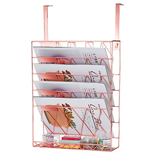 Samstar Hanging Wall File HolderWall Mounted File Folder Organizer for Cubicles Office Partition Rose Gold