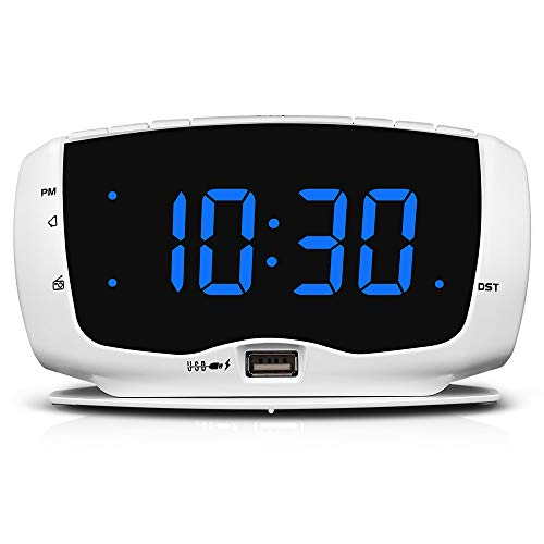 DreamSky Clock Radio with Dual USB Charging Port,1.4 Inches Clear Readout , Lightweight Alarm Clock for Bedrooms, Digital Clocks with Snooze and Dimmer Setting, DST.